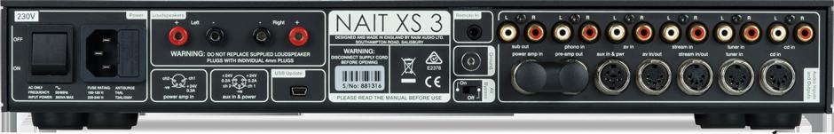 Naim Nait XS 3 Vollverstärker Anschlüsse